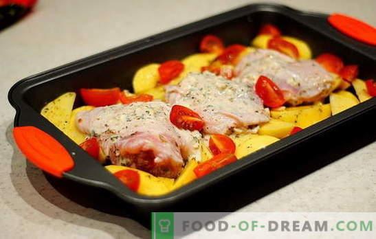 Пилешки бедра с картофи във фурната - най-добрите рецепти. Рецепти за пилешки бедра с картофи във фурната: във фолио, ръкав