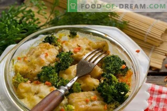 Läcker pollock med grönsaker i ugnen