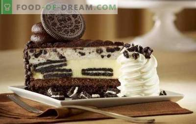 Albul și negrul sunt tort Oreo. În căutarea armoniei rafinate a gustului: rețete pentru tort de burete Oreo și pâine scurtă (cu fructe, ciocolată, caș)