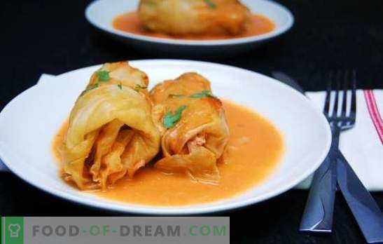 """Cooking cabbage rolls in tomato sauce: creativity is welcomed! Variants of stuffing and """"wrappers"""" for stuffed cabbage in tomato sauce"""