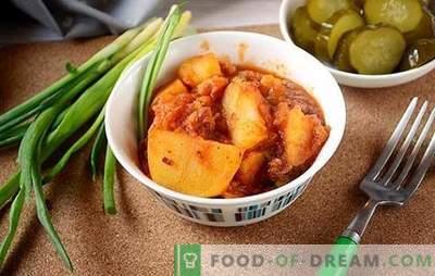 Potatis med gryta, gröna ärtor och tomatpasta - diversifiera den dagliga menyn. Foto recept för att laga ovanliga potatis med gryta i en tomat med gröna ärter