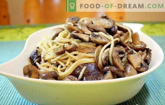 Спагети с гъби е необичайна комбинация от обикновени храни. Най-добрите рецепти за готвене на спагети с гъби