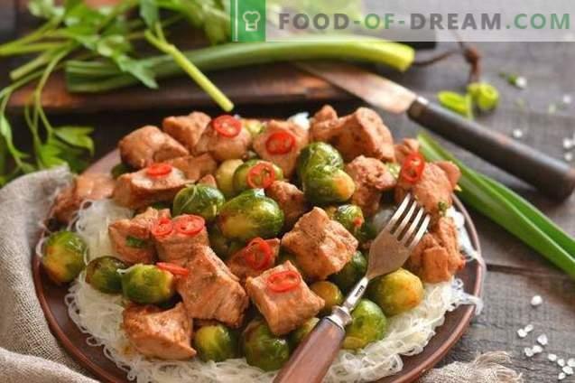 Китайско свинско с брюкселски кълнове