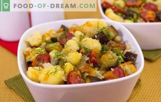 Stewed blomkål - enkelt, gott. Recept för stuvad blomkål med grönsaker, kyckling, malet kött, svamp och annat