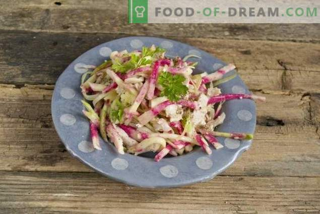Delicious and healthy radish salad with chicken