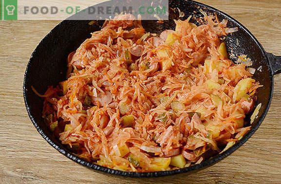 Solyanka av surkål med bröstvårtor: en snabb och hälsosam snabb måltid. Författarens steg för steg fotrecept på surkålssoppa med korv och pärlor