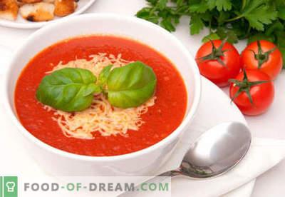 Tomatcreme soppa - beprövade recept. Hur man rätt och laga matlagad tomatspuré soppa.