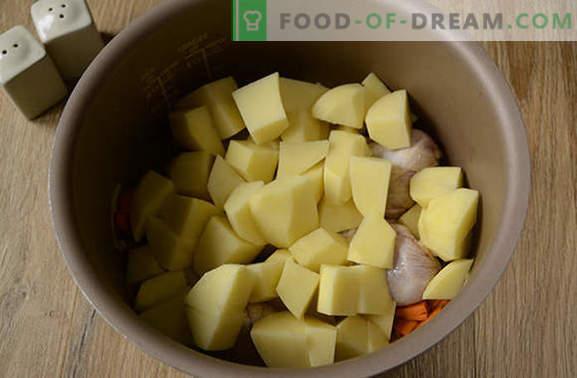 Aardappels stoven met kip in een slowcooker: een geweldig diner in een half uur! Stapsgewijs foto-recept van kipstoofpot met aardappelen in een slowcooker