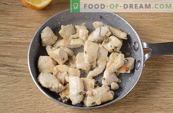 Vištienos filė su čiobreliais: nustebinkite nauju įprastinio produkto skoniu! Fotografinis vištienos filė su timiumi, česnaku ir citrina viršuje