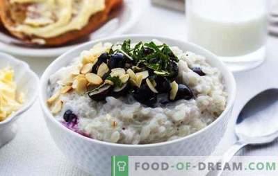 Tillagning av risgröt med mjölk till frukost. Testad receptpumpa gröt med ris, mjölk