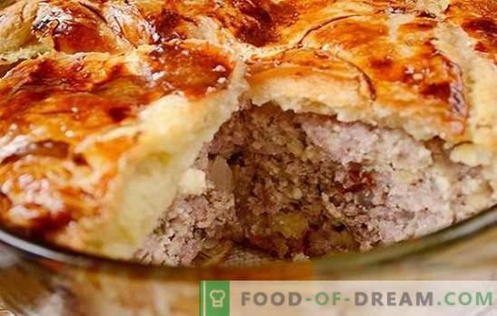 Gaļas pīrāgs no gatavā biezpiena mīklas: autora soli pa solim foto recepte. Kā ātri cept gaļas pīrāgu ar biezpiena biezpienu ar malto gaļu