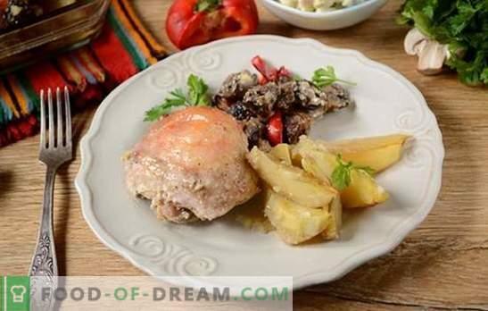 Kurczak pieczony z ziemniakami: przepis na zdjęcia krok po kroku. Pieczemy kurczaka z ziemniakami, pieprzem i grzybami - minimum wysiłku, pyszny wynik!