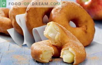 Donuts hemma - puffiga ringar! Recept för hemlagad munkar med jäst, kefir, stallost, kondenserad mjölk och fylld