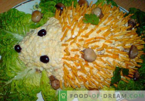Hedgehog Salad - ett urval av de bästa recepten. Hur rätt och välsmakande sallad