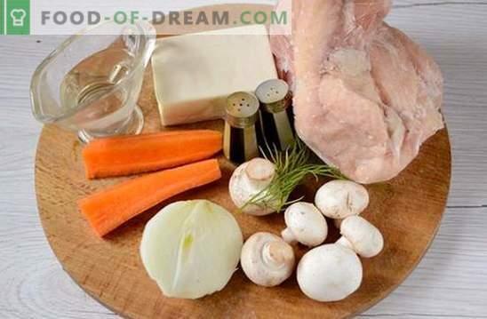 Grybų sriuba su vištiena ir lydytu sūriu: gražus ir sveikas pirmasis kursas. Foto receptas sriubai su vištiena ir lydytu sūriu: žingsnis po žingsnio