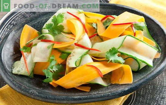 Sallad med gurka och morötter - friskhet i varje sked. De bästa recepten för sallader med gurka och morötter: enkel, kost
