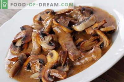 Месо с гъби - най-добрите рецепти. Как правилно и вкусно да се готви месото с гъби.