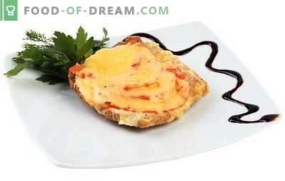 Fläsk med ost och tomater är en separat maträtt och tillägg till sidovarden. De bästa recepten av fläsk med ost och tomater