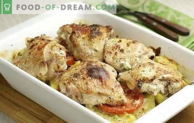 Kycklingfilé med potatis i ugnen - svår att förstöra. Kycklingfilé recept med potatis i ugnen med gräddfil, adjika, etc.