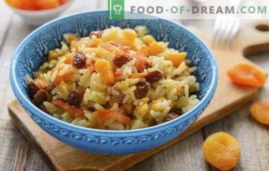 Pilau con albaricoques secos y pasas - recetas originales de platos tradicionales. Cómo cocinar arroz con albaricoques secos y pasas en una olla de cocción lenta y un caldero