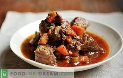 Nötköttspot i en långsam spis - enkelt! Recept för köttgryta i en långsam spis med gräddfil, grönsaker, svamp