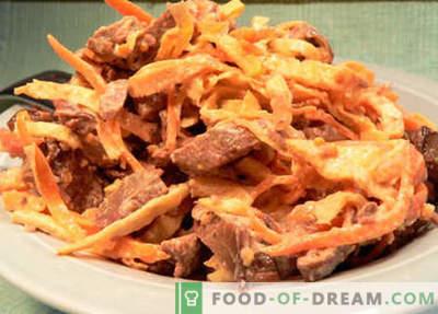 Insalata con fegato e carote - le migliori ricette. Come correttamente e gustoso per preparare un'insalata con fegato e carote.