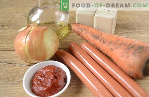 """Sos do kiełbasy z pastą pomidorową: pyszny """"snag"""". Fotoreportaż """"krok po kroku"""" z sosem tomantho ze zwykłych kiełbas"""