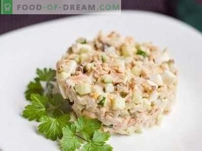Saladas com salmão rosa enlatado
